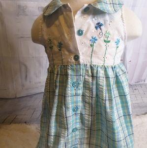 3/$15 Fisher-Price blue seersucker plaid dress 3T